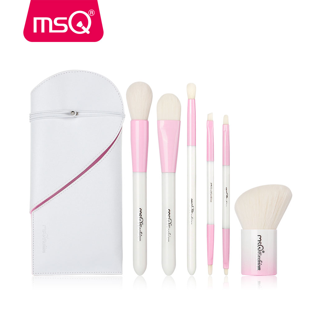 MSQ 6pcs Makeup Brushes Set Double-end Blusher Foundation Eyeshadow Cosmetic Make Up Brush Kit With PU Leather Case Resin Handle msq 12pcs makeup brushes set powder foundation eyeshadow make up brush professional cosmetics beauty tool with pu leather case