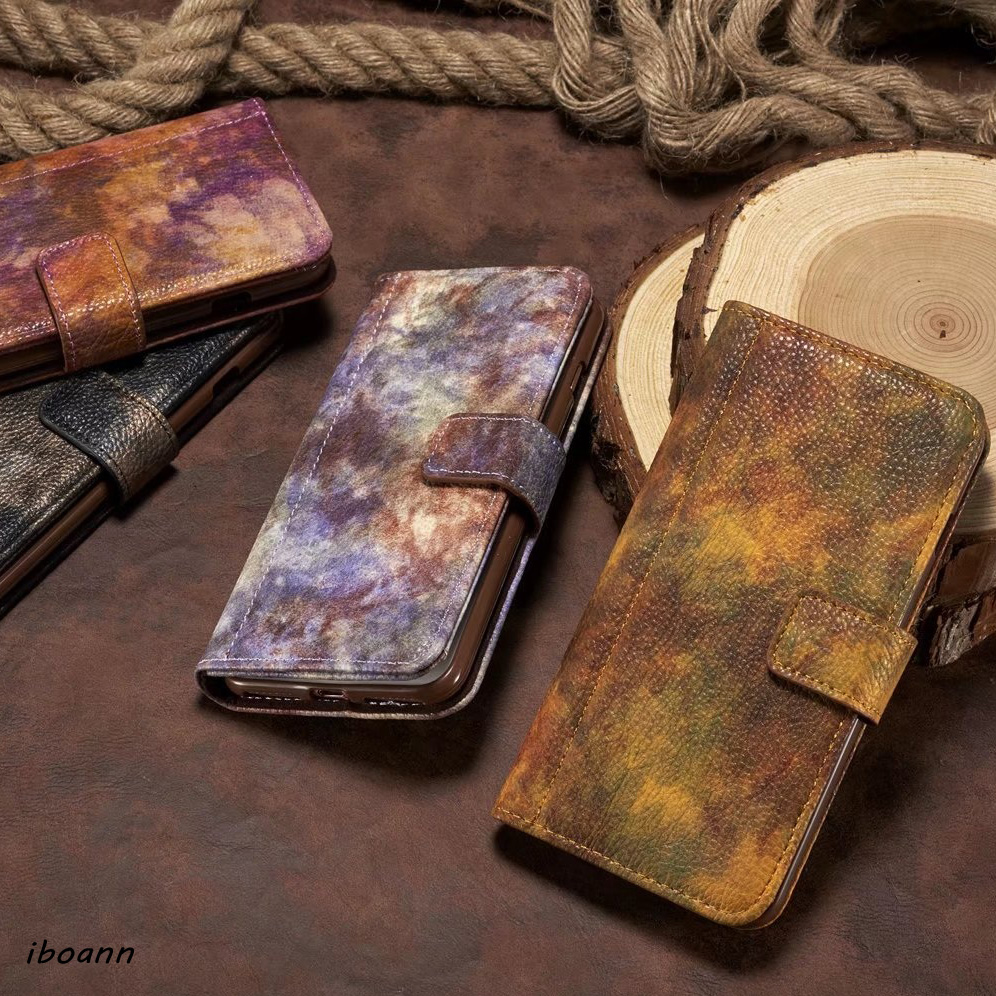 iboann Luxury PU leather Forest Nebu case for iphone 5 5s 6 6s 6plus 7 plus Card Slots Wallet Flip Mobile Phone Cases Back Cover