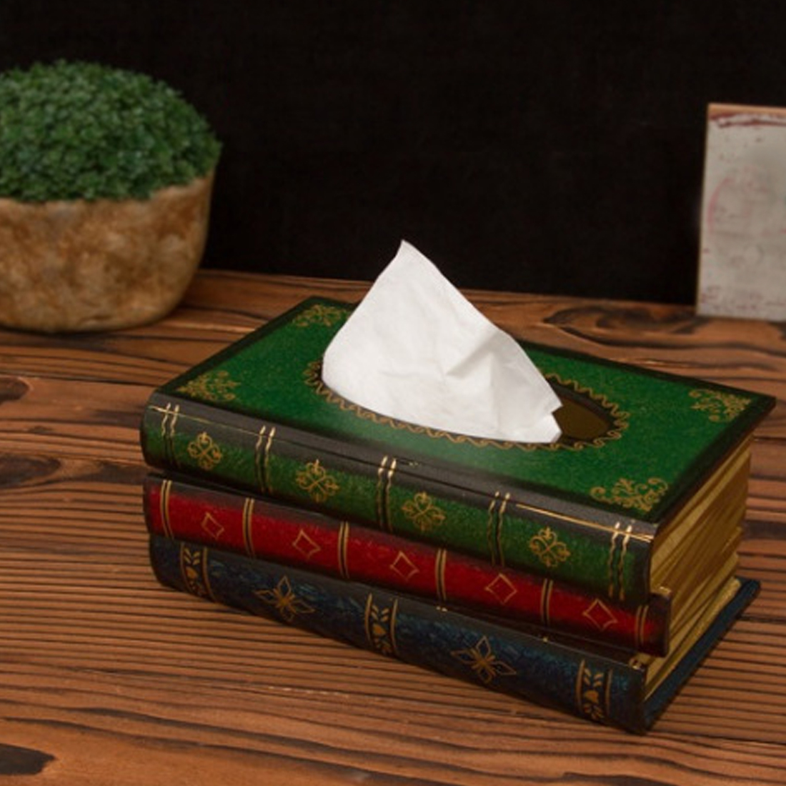Hot Selling Retro Tissue Box Fake Book Tissue Holder Tissue Box Cover European Style Classic Restaurant Decoration F in Tissue Boxes from Home Garden