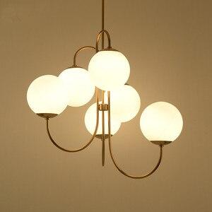 Image 3 - Современный подвесной светильник в скандинавском стиле золотого цвета с 6 стеклянными шариками, лампа молочного белого цвета для столовой, бара, ресторана, подвеска, Светодиодная лампа E27