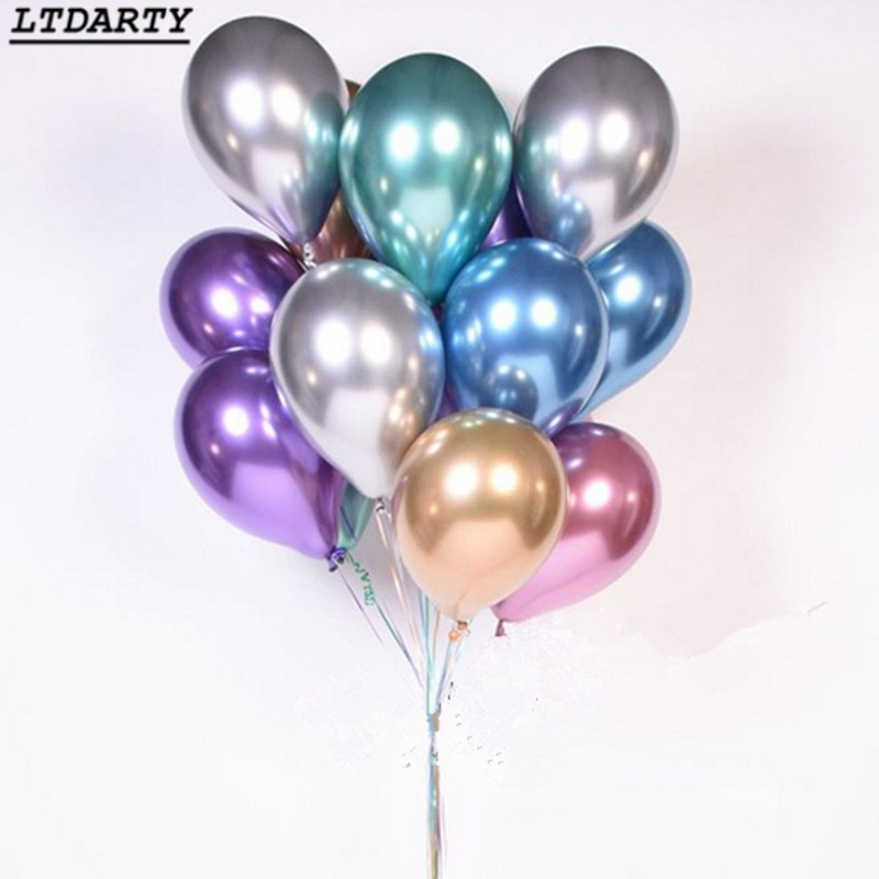 10pcs 12inch New Glossy Metal Pearl Latex Balloons Thick Chrome Metallic Colors Inflatable Air Balls Globos Birthday Party Decor(China)