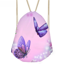 ThiKin 3D Butterfly Printed Fitness Yoga Sports Women Backpack Small Drawstring Bag Female Travel Beach Storage Bags Girls