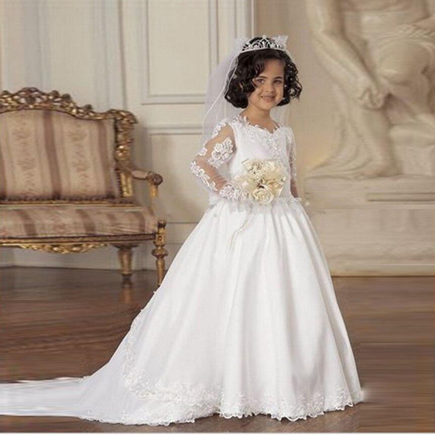 Милые Нарядные платья для маленьких девочек с длинным рукавом Детские платья на выпускной Первое Причастие Платья для девочек в цветочек п