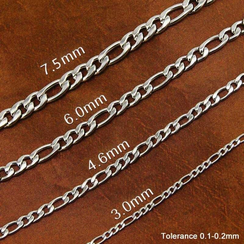 100 metros em um rolo Mulheres 3 milímetros Cadeias figaro colar de prata Colar DA FORMA do Aço Inoxidável de Alta Qualidade Por Atacado 0.8 3:1 - 3