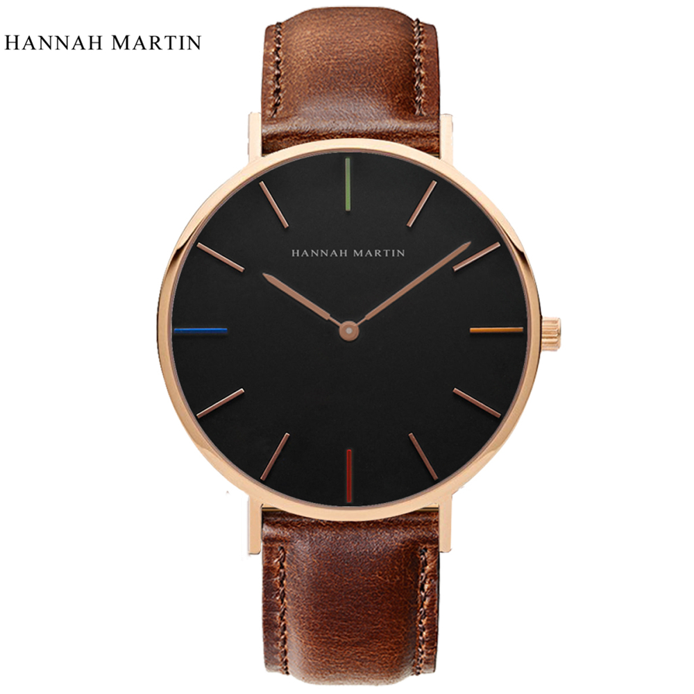 Hannah Martin Watch Men Women Wrist Watch Top Brand Luxury Men's Watch Women's Watches Fashion Leather Clock Reloj Relogio Saat