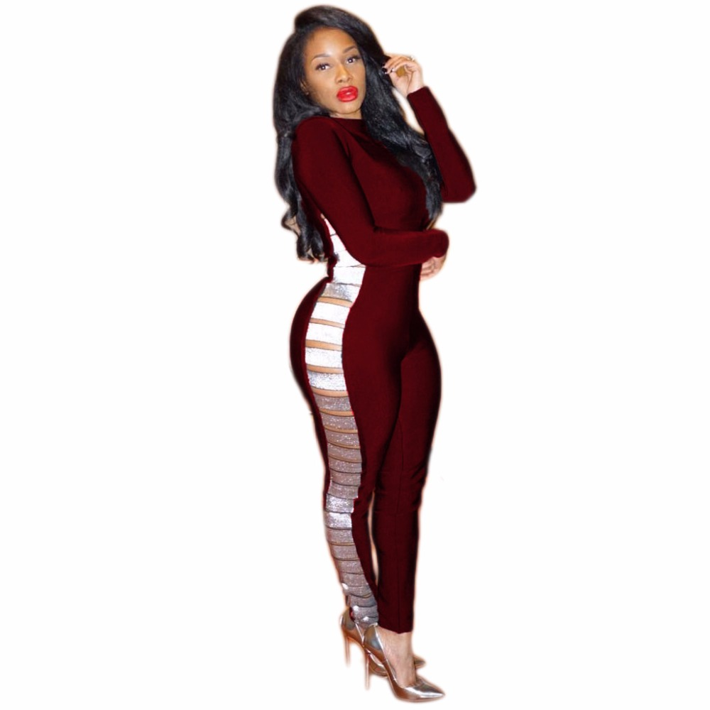 Women club party rompers 2018 fashion sexy bodysuit bandage bodycon hollow out Jumpsuits Multicolor plus size XL clubwear