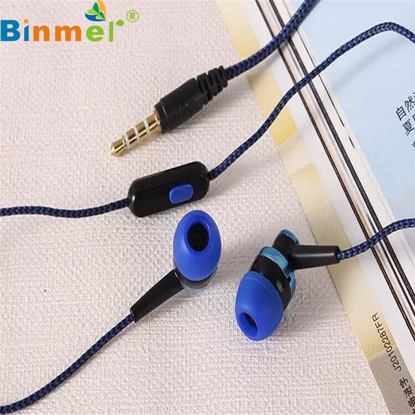 Factory Price Binmer Hot Selling Earphone Universal 3.5mm In-Ear Stereo Earbuds Earphone With Mic For Cell Phone Drop Shipping universal nylon cell phone holster blue black size l