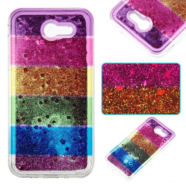 timeless design 0ae27 aadc1 US $3.29 10% OFF|Rainbow Soft TPU Dynamic Liquid Glitter Quicksand phone  Case For Samsung galaxy J3 Prime J5 Prime J7 Prime Back Cover-in  Half-wrapped ...