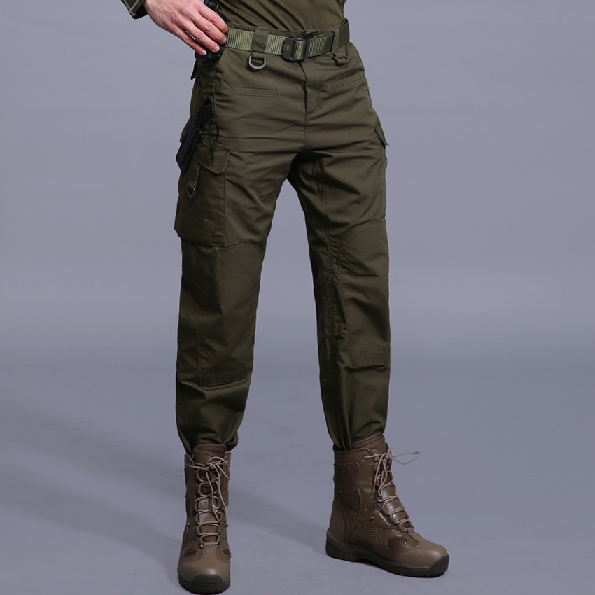 Mens Military Tactical Pants Quick Dry Multi-pocket Lurker Full Length Pants Cotton Casual Cargo Trousers Male Brand LA631