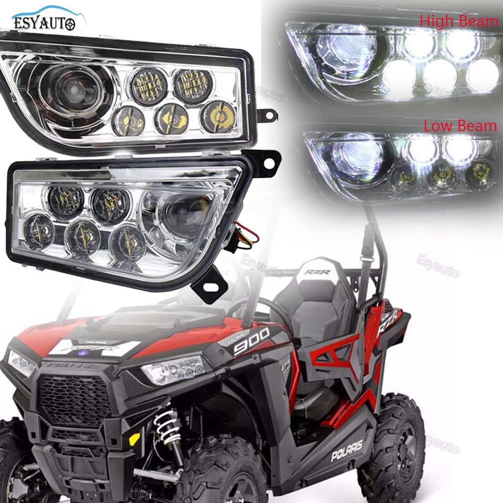 ESYAUTO Led Le/Ri High Low Headlight Car Accessories Headlamp For POLARIS RZR 800 800S 2007-2014 Polaris RZR 4 800 2010-2014