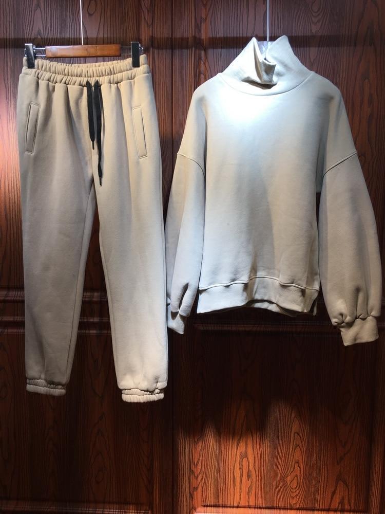 Loisirs Col Et Automne De Coréenne Pur beige Vert Costume Cachemire D'hiver Chandail Femmes 2018 Deux Longues À Ensembles Épais Manches Pantalon UZB5fwqw