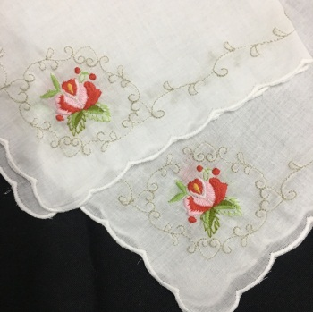 Set Of 12 Fashion Wedding Bridal Handkerchiefs White Cotton Hankie With Scallop Edges & Color Embroidery Floral Hanky 12x12-inch