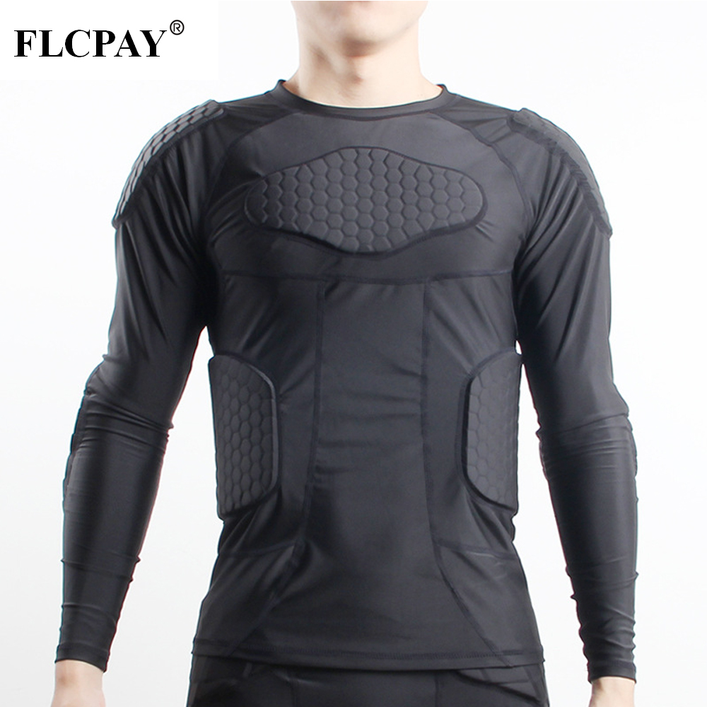 Padded Compression Shirt Rib Chest Protector For Football Basketball Paintball Cycling Men's Padded Compression Shirt Protective
