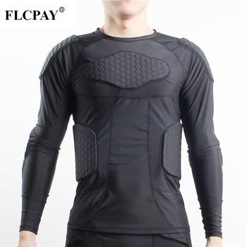 Wyściełana koszulka kompresyjna żebra ochraniacz na klatkę piersiową do piłki nożnej koszykówka Paintball kolarstwo męska wyściełana koszulka kompresyjna ochronna tanie i dobre opinie Flexible Pasuje prawda na wymiar weź swój normalny rozmiar FLCPAY