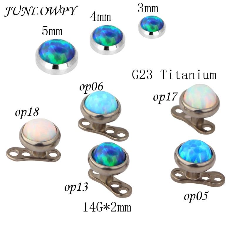 Schuhe Junlowpy 10 Stücke 3/4/5mm Opal Stein G23 Titan Dermal Piercing Haut Taucher Pircing Micro Dermal Körper Piercings Schmuck
