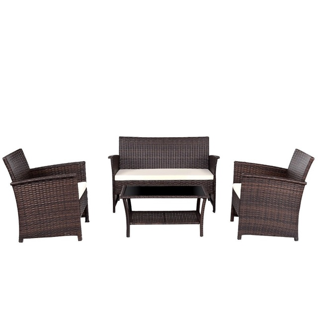 US $234.53 45% OFF|4 Pcs Outdoor Patio Rattan Furniture Wicker Sofa Set  Modern High Quality Outdoor Furniture Table and Chair Patio HW57026-in  Garden ...