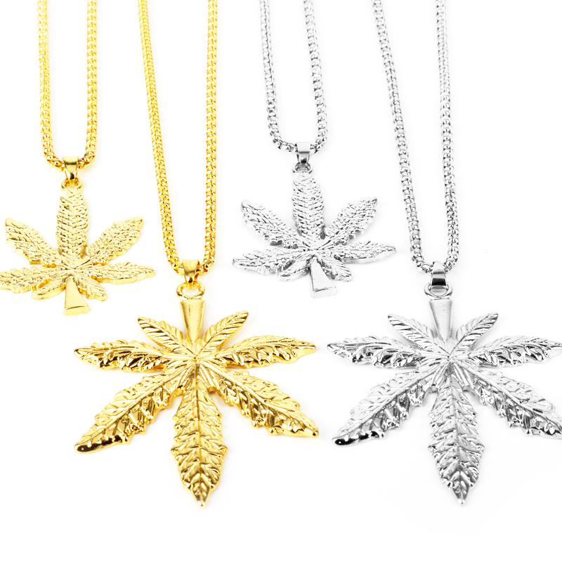 2018 New Design <font><b>Cannabiss</b></font> Small Weed Herb Maple Leaf Necklace Men Women Choker Pendants Charms Jewelry image