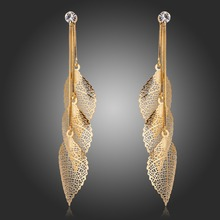Gold Plated Snake Chain Filigree Tripe Leaves Crystal Leaf Drop Dangle Long Earrings For Women