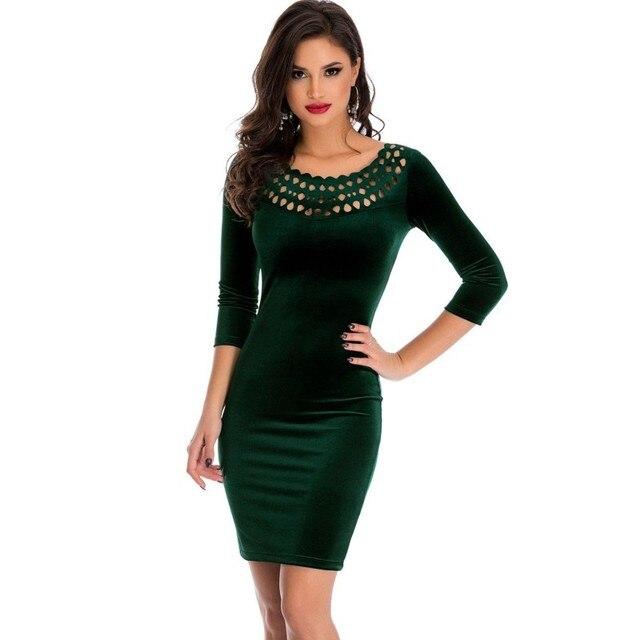 2019 Burgundy black dark green dress short hollow out round neck velvet fabric vintage clothing womens sexy mini dresses SA22925