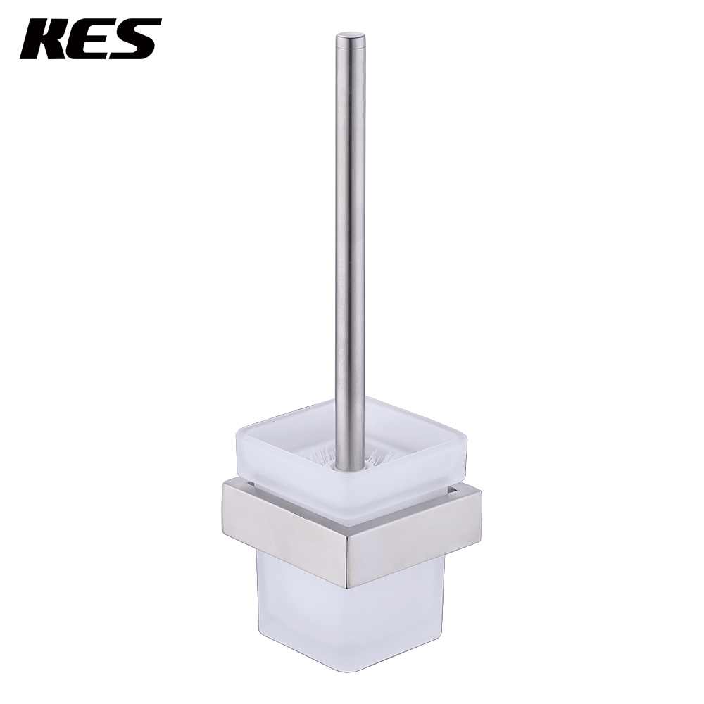 KES Bathroom Toilet Brush with Holder Wall Mount, SUS304 Stainless Steel Holder Brushed Finish, A23030-2 brand new toilet brush for cleaning black color with stainless steel wall mounted brush holder chromed finish