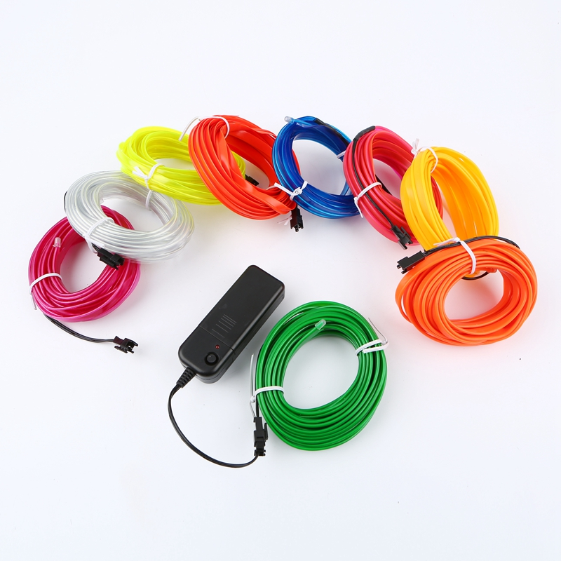 1m/3m/5M 3V Flexible Neon Light Glow EL Wire Rope tape Cable Strip ...