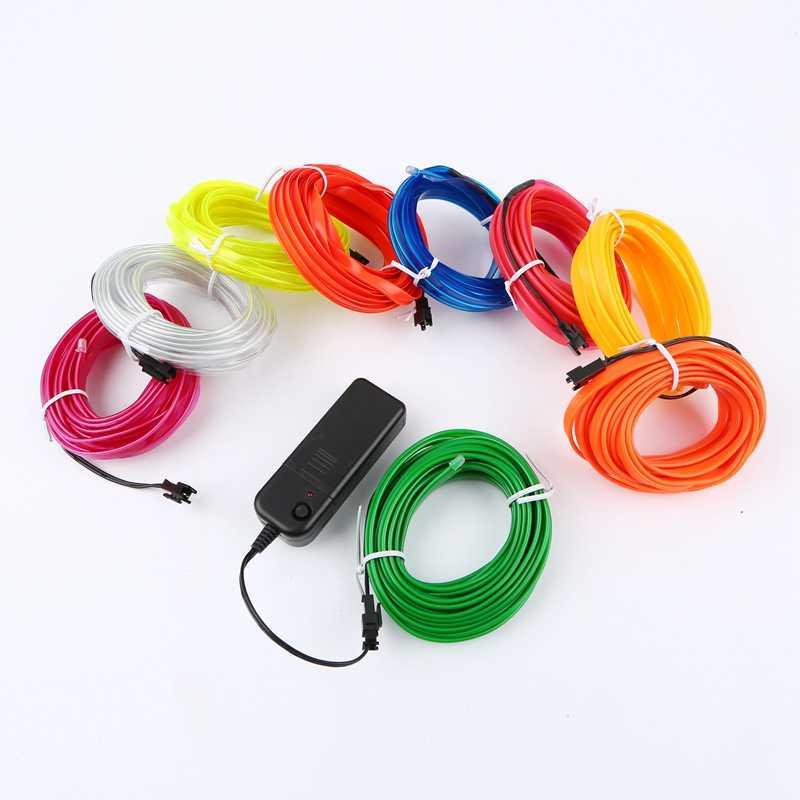 Sewable EL Wire Tron светодиодный неоновый светильник, светящийся el Wire, легко сшитый тег, ламповый светильник s 1 м 3 м 5 м + 3 в, чехол для батареи