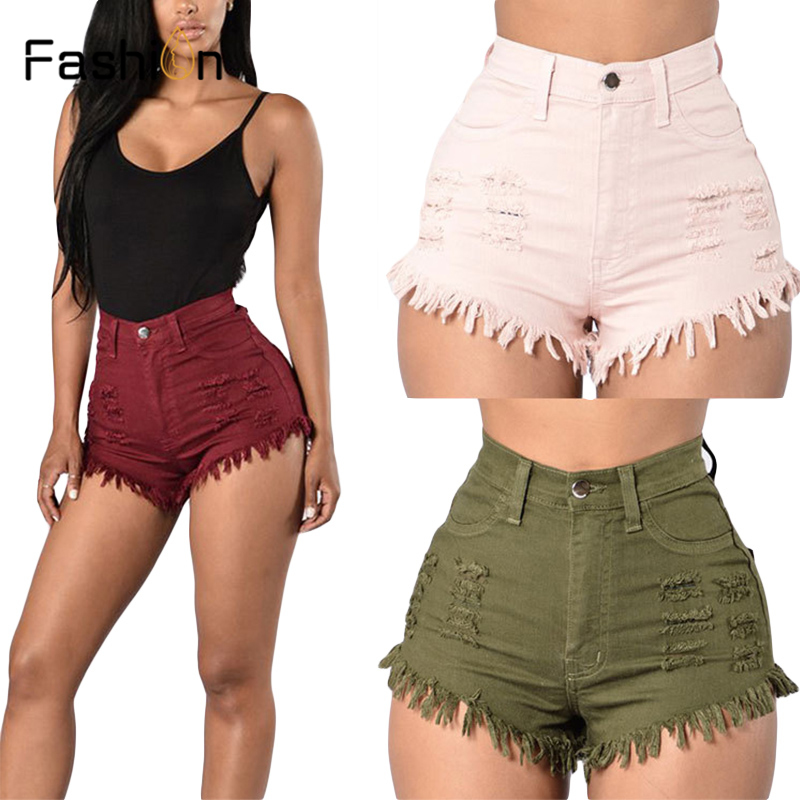 Women Summer High Waisted Denim   Shorts   Jeans Women   Short   2019 New Femme Push Up Skinny Slim High Waist Denim   Shorts   Harajuku