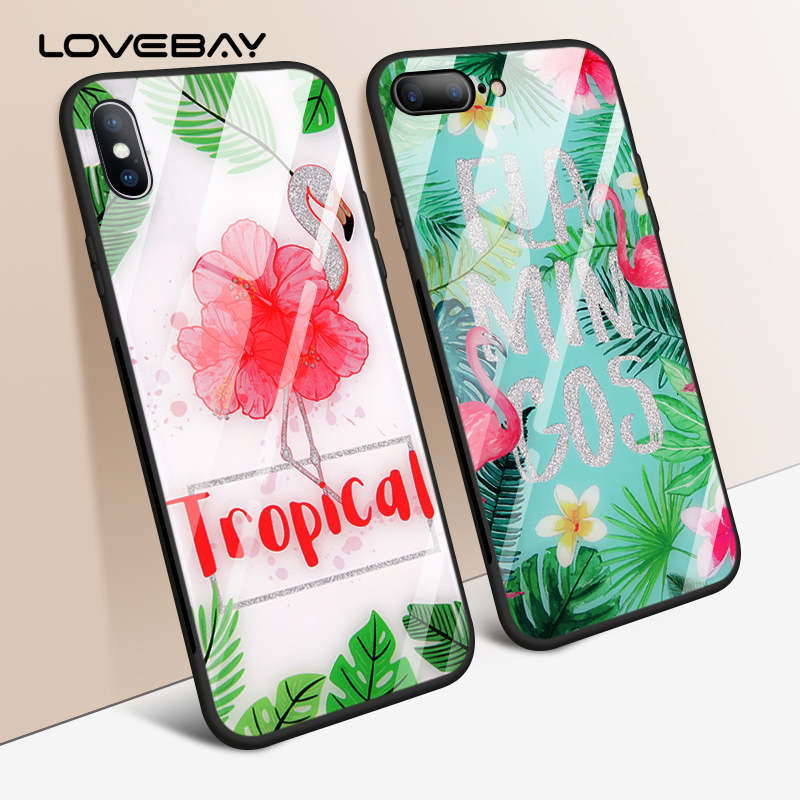 Lovebay Glitter Powder Flamingo Floral Leaf Pattern Tempered Glass Phone Cases For iPhone X 8 7 6 6S Plus Capa TPU+PC Cover Case