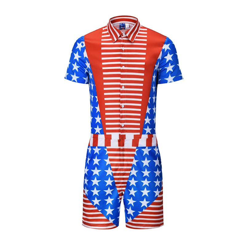 Star Stripe Fake Two Pieces Print Rompers Men Short Sleeve 3d Jumpsuit Playsuit Harem Cargo Overalls Summer One Piece Sleepwear