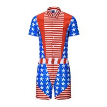 Star Stripe Fake Two Pieces Print Rompers Men Short Sleeve 3d Jumpsuit Playsuit Harem Cargo Overalls Summer One Piece Sleepwear(China)