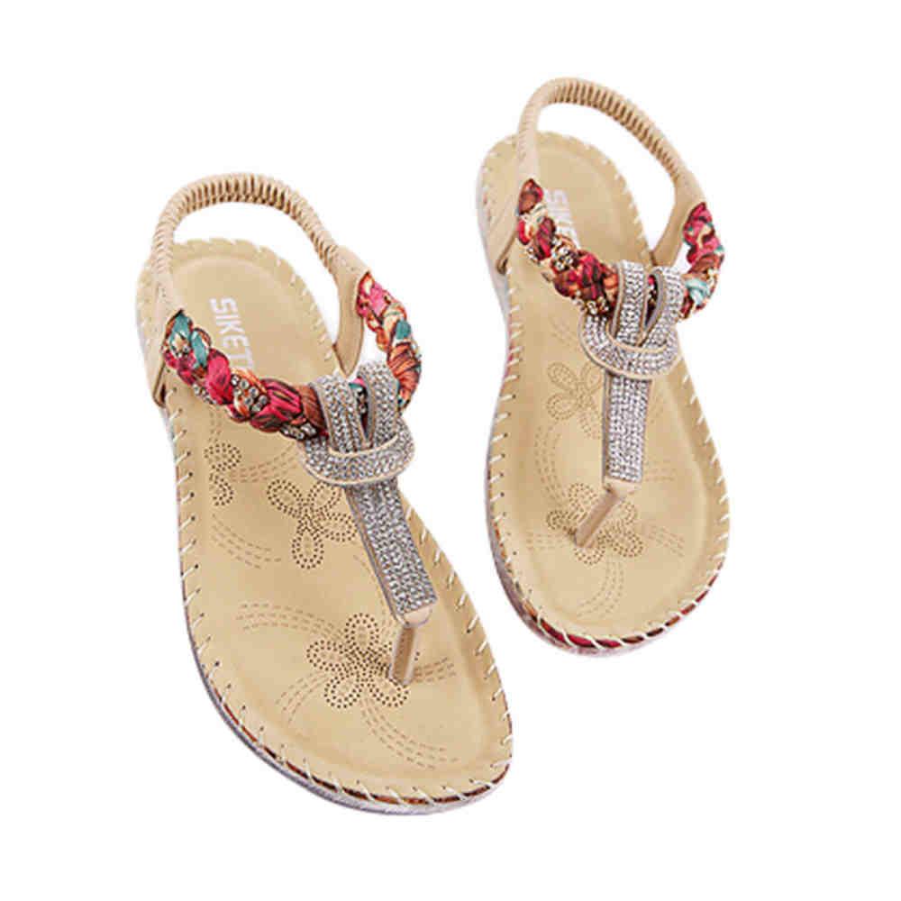 SAGACE 2018 Hot Sale New Sandals Women Rhinestone Owl Sweet Sandals Clip Toe Lady Sandals Beach Shoes SIZE41