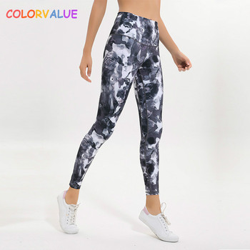 Colorvalue New Soft Printed Fitness Gym Leggings Women 4-Ways High Stretchy Sport Yoga Leggings Squatproof Workout Jogger Tights