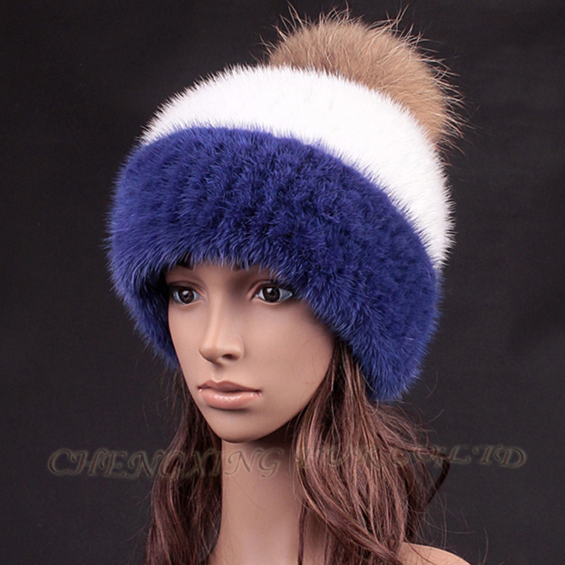 CX-C-235K Girl's Winter New Fashion Knitted Mink Fur Hat With Fur Ball Top