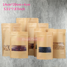 14*20cm(5.51*7.87inch) 50Pcs/Lot Kraft Paper Gift Bag For Tea Powder Nut Food Cookie Packaging Zip Lock Bags Gift Bag(China (Mainland))