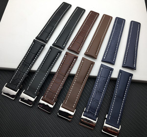 Genuine Leather watchband Watch Band Black Brown Blue Soft Watchbands for Breitling strap Man 20mm 22mm 24mm with Tools logo on(China)