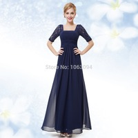 Evening Dresses Half Sleeve Blue Evening Dress Ever Pretty HE08038 2016 New Arrival Elegant Evening Dress