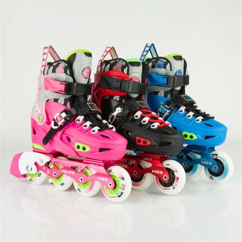 [ Kid's Inline Skates ] Sneakers Sports Shoes Pink Blue Red Black EUR 29 to 36 Size Changeable Skating bag as gift for SEBA