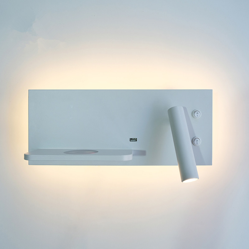 2018 New Modern Minimalist White Reading Bedroom Bedside
