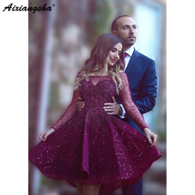 Homecoming-Dresses Sparkle Sequins Graduation Long-Sleeves Elegant Purple Mini Short