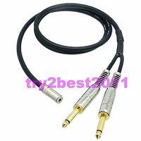 3.5mm femelle jack stéréo TRS à 2x6.35mm fiche mâle mono TS Canare L-4E6S câble