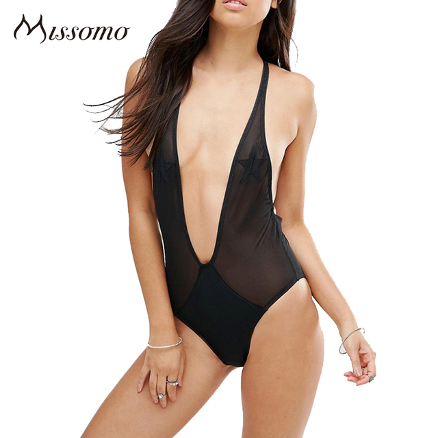 Missomo  New Fashion Women Black Sexy Deep V Neck Summer Beach Soft Bralette Fitted Cross Back Bodysuits