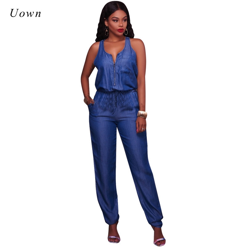 Summer Denim Jumpsuit for Women Sleeveless Zipper Front Pockets Long Pants Romper Ladies Elegant One Piece Blue Jeans Jumpsuits