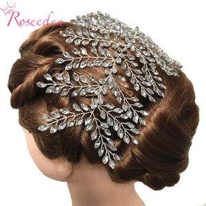 Image 3 - Женские свадебные обручи для волос, серебристые обручи для волос с кристаллами, аксессуары для волос, RE3283