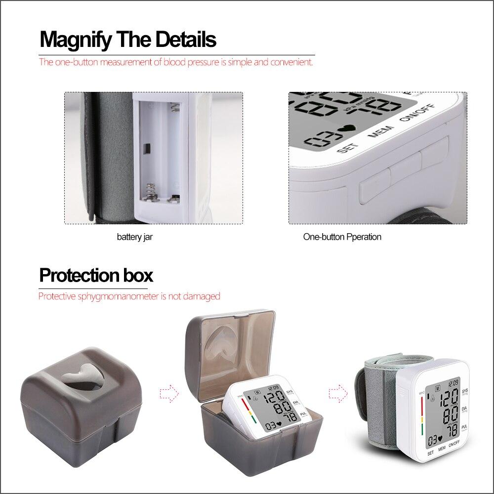 Image 4 - RZ Digital Wrist Blood Pressure Monitor Pulse Rate Heart Beat Rate Meter Device Medical Equipment Tonometer BP Sphygmomanometer-in Blood Pressure from Beauty & Health