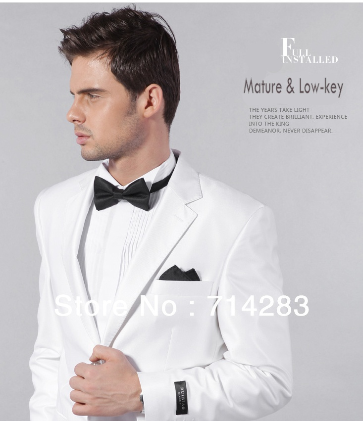Tailor Men Wedding Suits Fashion & Handsome Slim Style White Wool ...
