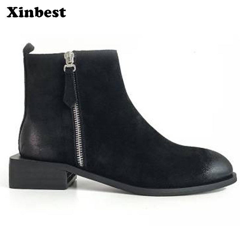 Xinbest Women Brand Boots Round Toe Women Martin Boots Genuine Leather Ankle Boots For Women Casual Fashion Womens Winter Boots