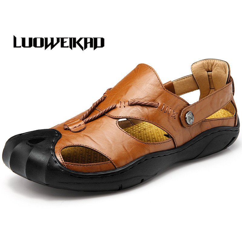 Men's Sandals Male Summer Casual Shoes Adult Solid  Genuine Leather Sandals Men's Rubber Shoes Breathable Fashion Slip-on 38-44