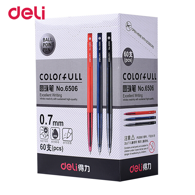 Deli 60 pcs/lot Plastic Ballpoint Pens automatic Ink Ball Pen Classic Canetas or gel pen School Office Stationery Supplies gifts free shipping 36 60pcs blue ballpoint pen clicked school students stationery office accessories supplies boligrafos canetas pens