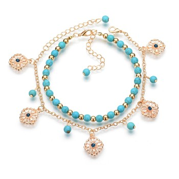 Halhal Simple Turquoises Anklets for Women Fashion Barefoot Sandals Chain Ankle Bracelets on the Leg Feet Jewelry Children Gift 3
