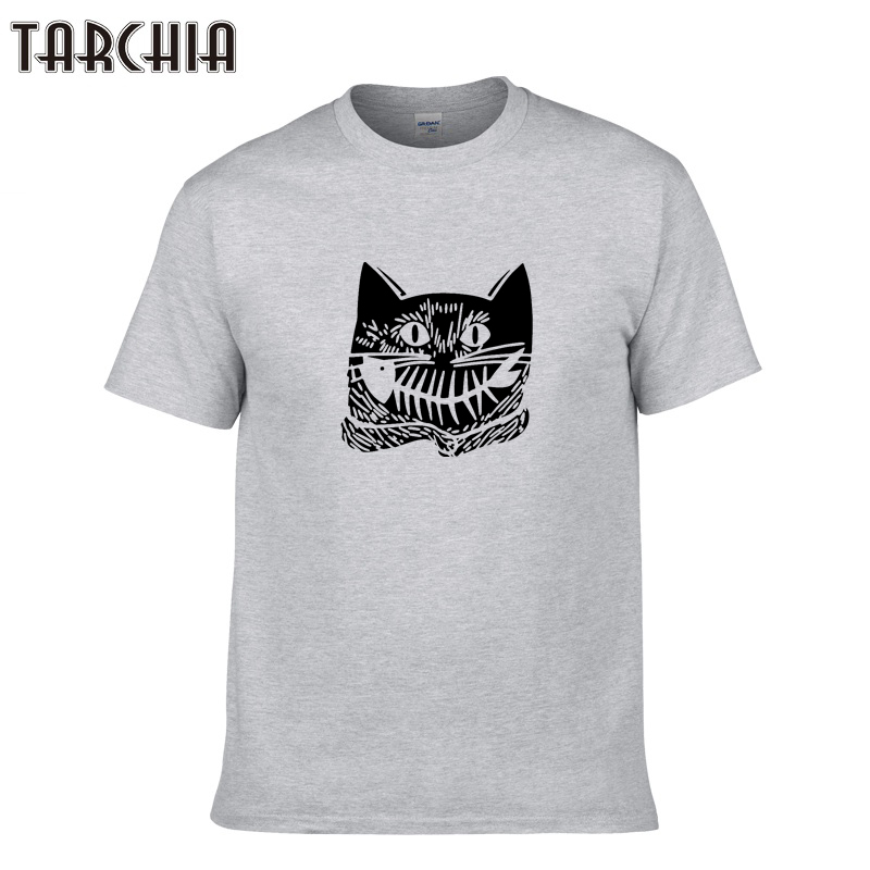 TARCHIA Men Cat Print T Shirt Homme O-Neck Tops Tees Short Sleeve T-Shirt Men's Cotton T-Shirts Fashion Summer Style Hip Hop Top
